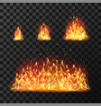burning fire flames or hot flaming blaze fireball vector image vector image