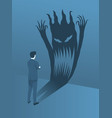 businessman brave standing to face his fear vector image vector image
