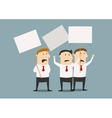 Businessmen at the meeting with posters vector image