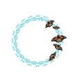 Butterfly on round frame vector image vector image