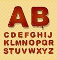 caramel latin alphabet font on waffle vector image