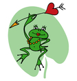Cartoon frog princess with heart and arrow vector image