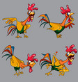 Cartoon funny multicolored cockerel in different