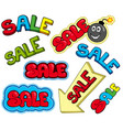 cartoon sale signs vector image vector image