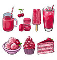 cherry desserts set in sketch style isolated on vector image vector image