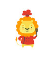 cute lion in red chef uniform holding spatula vector image vector image