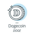 dogecoin cryptocurrency coin line icon of virtual vector image