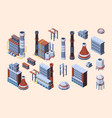 factory industrial buildings set isometric vector image