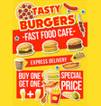 fast food burger snacks and pizza vector image vector image