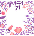 flat flowers leaves and berries color vector image