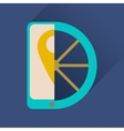 Flat icon with long shadow mobile phone wheel vector image vector image
