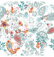 floral seamless pattern with ethnic ornament vector image