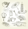 freehand drawing china items vector image vector image
