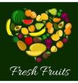 Fresh fruits heart shape poster vector image vector image
