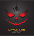 happy halloween red evil face and spider shadow vector image vector image