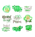 Healthy Bio Food Promo Signs Colorful Set vector image vector image