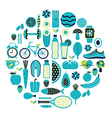 Healthy lifestyle icon set in blue colour vector image