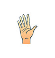 human hand showing five fingers in sketch style vector image vector image