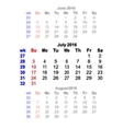 July 2016 Calendar week starts on Sunday vector image vector image