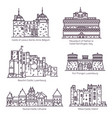 medieval european castles and fortin thin line vector image vector image