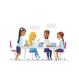 meeting business people in a cartoon style team vector image