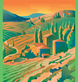 mountain landscape town in the mountains vector image