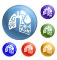 pneumonia virus lungs icons set vector image vector image