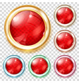 red transparent glass buttons vector image vector image