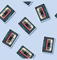 retro mix tape stickers seamless pattern texture vector image vector image