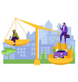 Rich and poor men comparison on balance scale