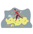 rich businessman dig shovel pile money successful vector image vector image