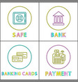 Safe online bank round linear bright icons set
