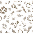 sketch cute mix vegetables seamless pattern vector image vector image