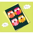 Sleeping owls card vector image vector image