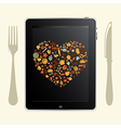 Tablet Computer With Food Icons vector image