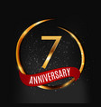 template gold logo 7 years anniversary with red vector image vector image