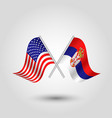 two crossed american and serbian flags vector image vector image
