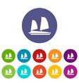 vietnamese junk boat set icons vector image vector image