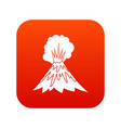 volcano erupting icon digital red vector image vector image