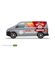 Wheel service grey delivery van template with