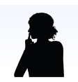 woman silhouette with hand gesture hush vector image vector image