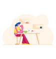 young woman drinking tea or coffee with cake in vector image