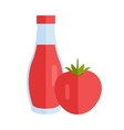 Bottle with Sauce Flat Design vector image