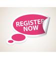 register now label vector image
