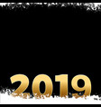 2019 new year on black with snow vector image vector image