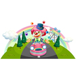 A clown riding in a pink car while juggling vector image vector image