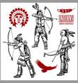 american indians set vintage emblems labels vector image vector image