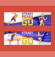 athlete man set banners vector image vector image