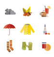 autumn clothes set the fall tree rain hat scarf vector image vector image