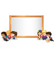 blank sign template with kids reading vector image vector image